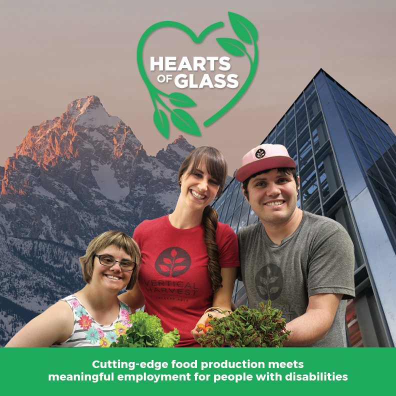 Hearts of Glass logo with three people