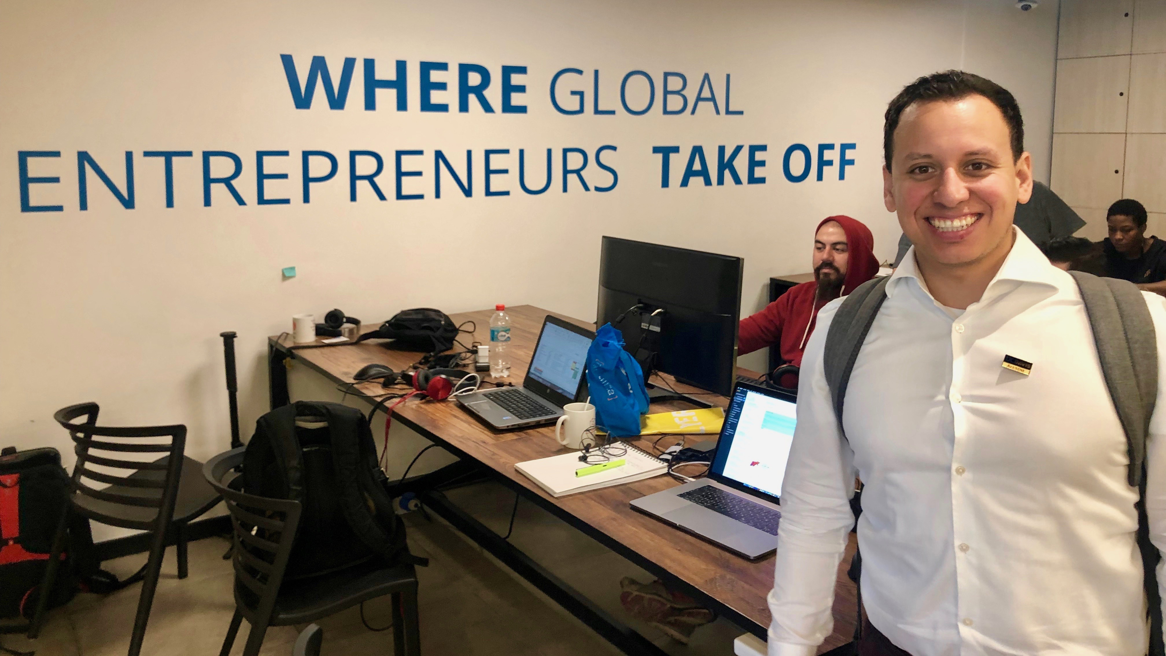 UC Davis MBA student Jesse Rodriguez at Startup Chile Co-Work Space