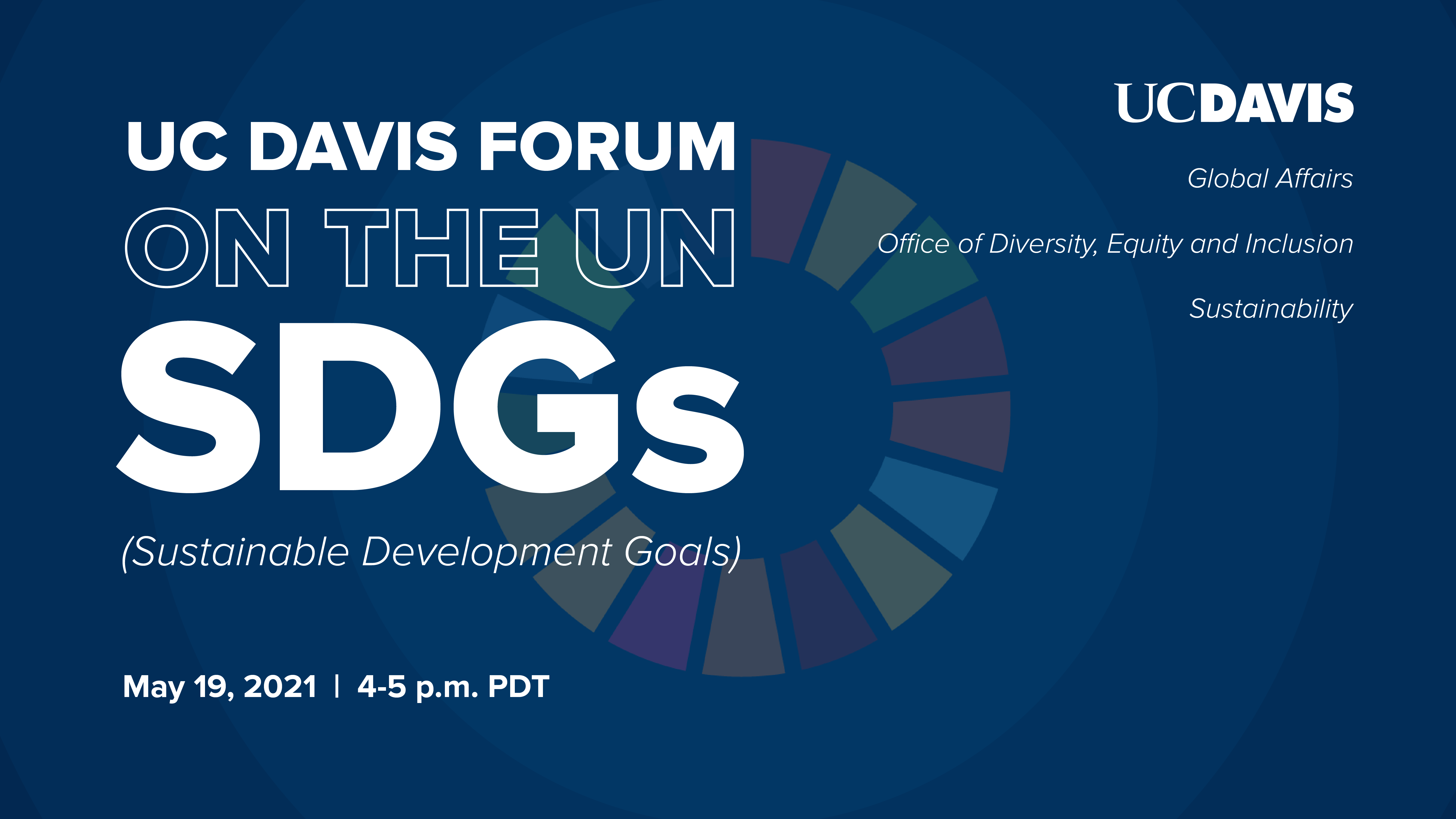 Blue SDG Forum Graphic with May 19 date