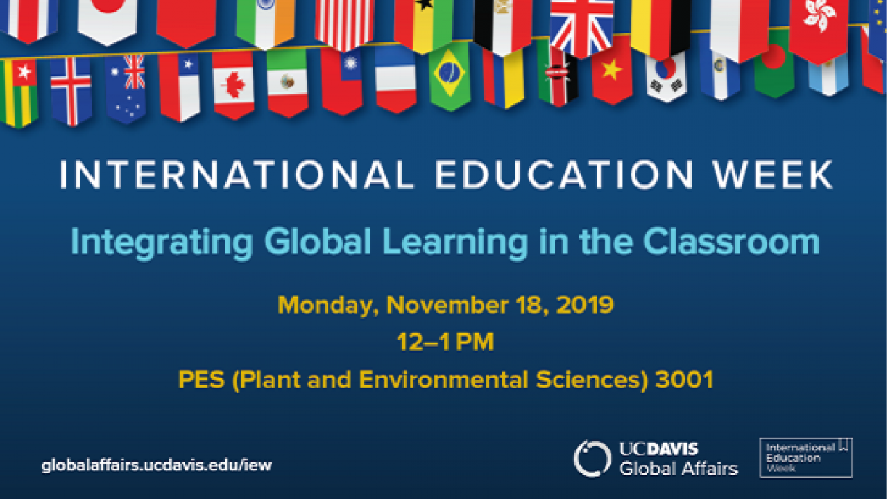 Integrating Global Learning in the Classroom November 18 2019, 12-1 pm Graphic