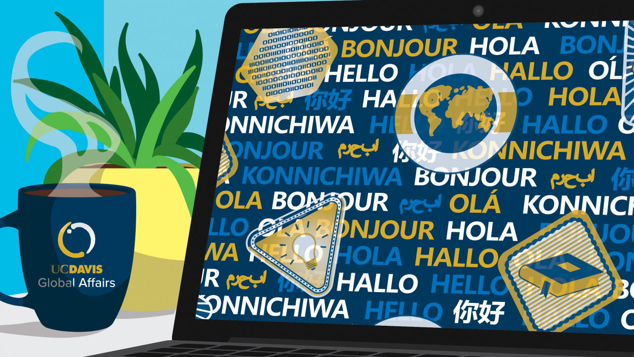 Laptop on desk with languages and world icons