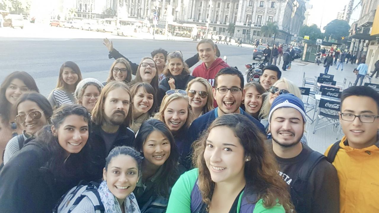 Group of students and faculty abroad in Argentina
