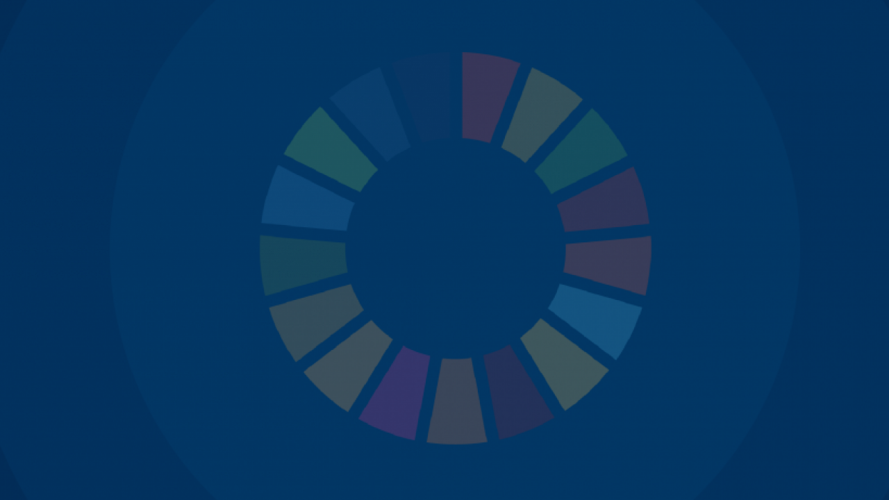 Blue banner with SDG color wheel