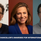 Headshots of 2021 Chancellor's Awardees Katharine Burnett, Jonna Mazet, Scott Palmer
