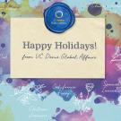 Happy Holidays from UC Davis Global Affairs with watercolor paint and line drawing of local and global plants
