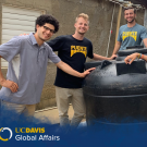 Tiven Buggy M.S. '20 (second from left) and teammates from the nonprofit, Puente, take a break during construction of a rainwater harvesting water tank.