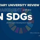 Blue graphic with text for University Voluntary Review for SDGs