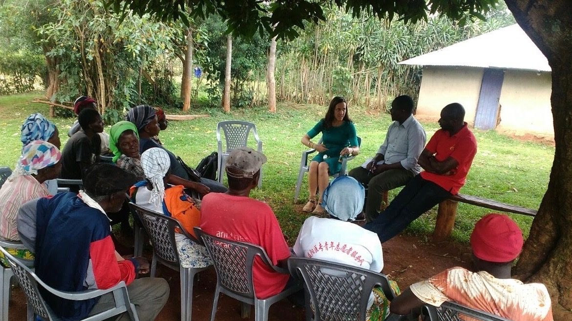 Waterman in Kisumu, Kenya with farmers who are learning to grow, process and eat moringa leaves.