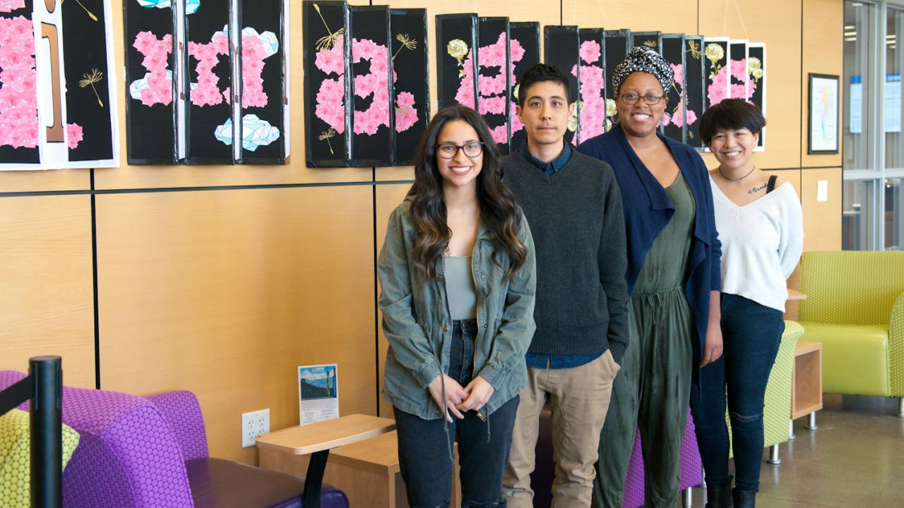 UC Davis students Bianca Medina, Marbles Jumbo Radio, Jasmine Wade, and Sabrina Rose Lee in the International Center.