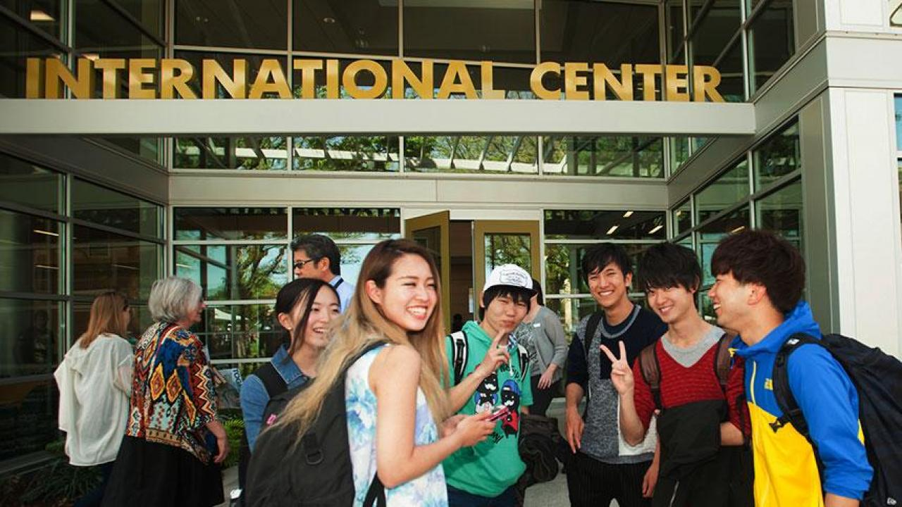 International Center building and students