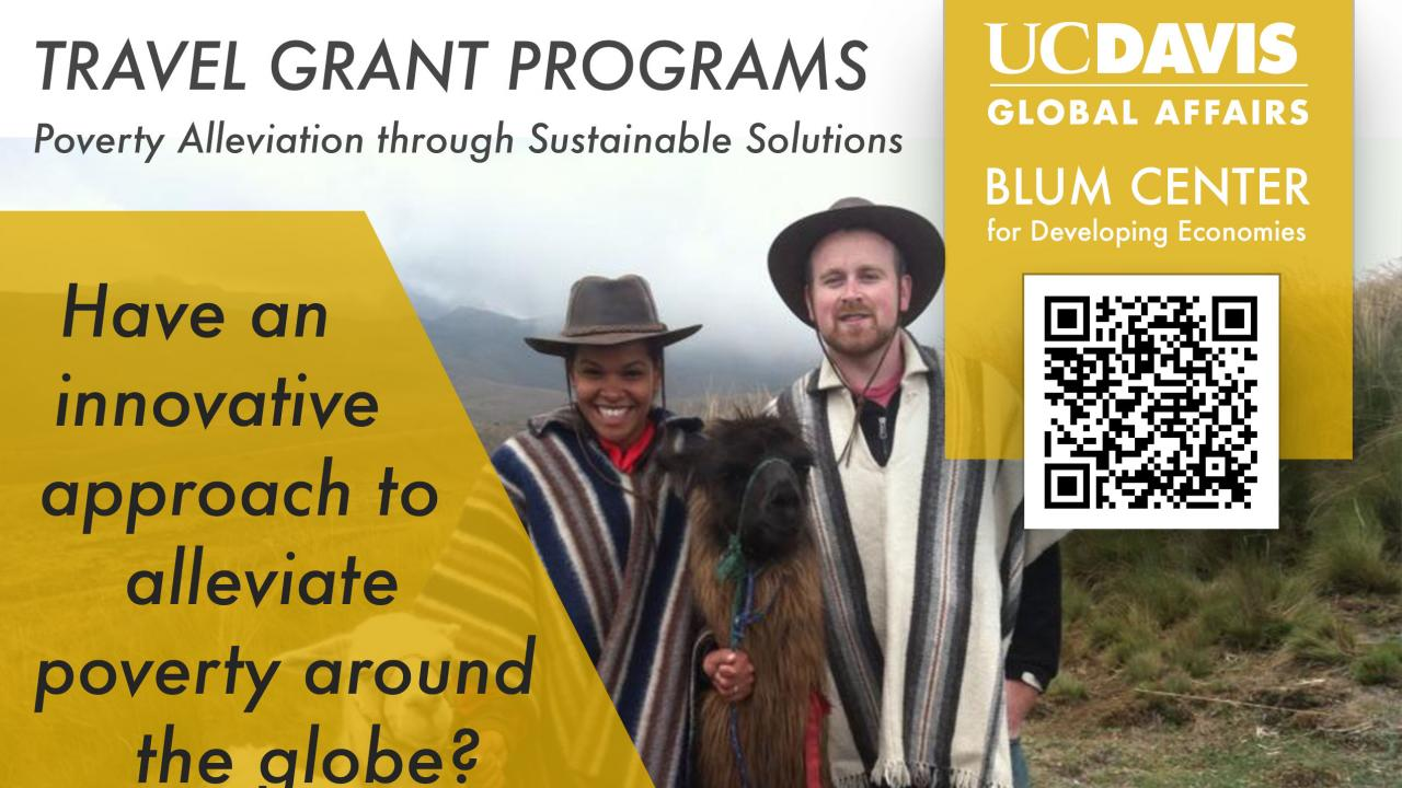 Blum Center Poverty Alleviation through Sustainable Solutions Flyer