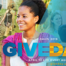 UC Davis students involved in global learning with Give Day logo