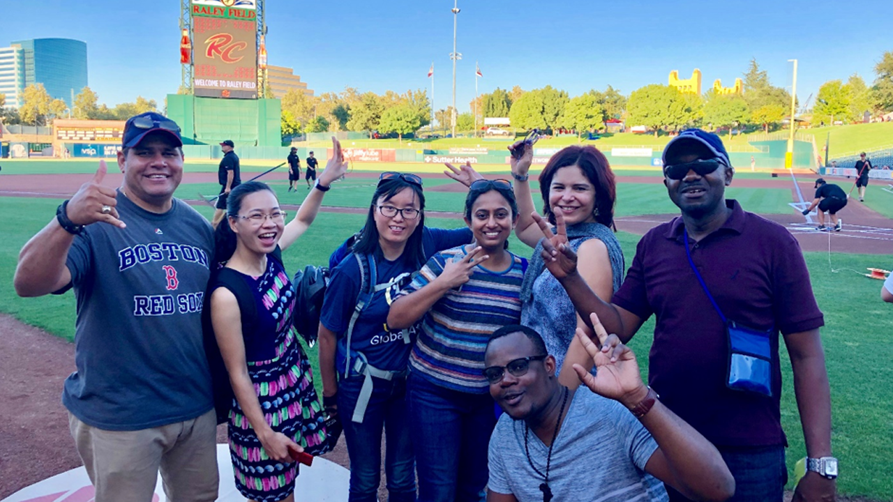 Humphrey Fellows at a Rivercats game