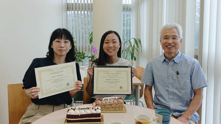 Nguyen with Assistant Professor Takanami and Associate Professor Koide