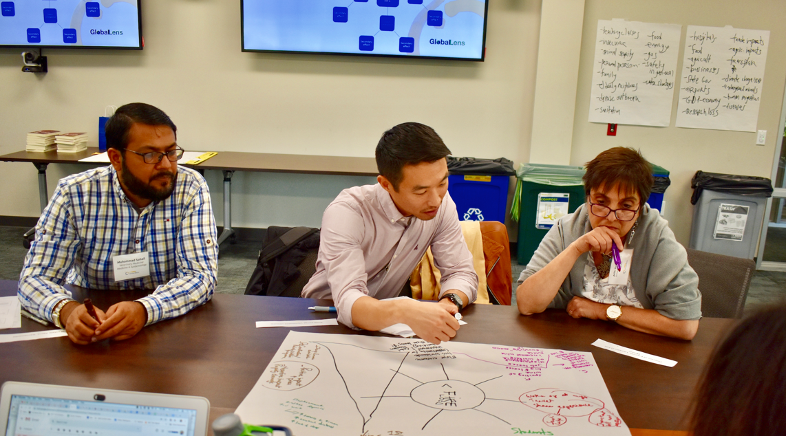 Faculty members (left to right) Muhammad Sohail Sajid, Daniel Choe, and Aliki Dragona developing global learning frameworks and practices during a Curriculum Enhancement Through Global Learning program session on campus in fall 2019.