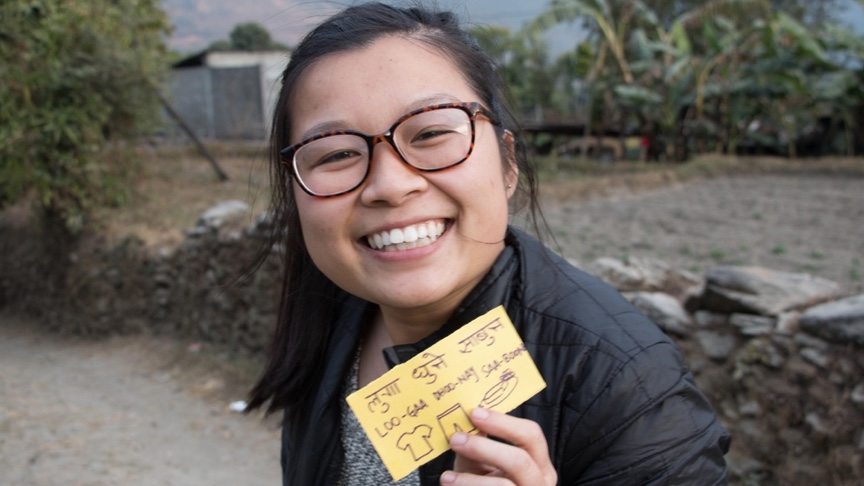 UC Davis student Tiffany Trihn during the 2017-18 Seminar Abroad in Nepal, where teams of UC Davis and Nepalese university students worked on community-based projects related to sustainability, community, and technology with Nepalese university partners over winter break. Liz McAllister/UC Davis.