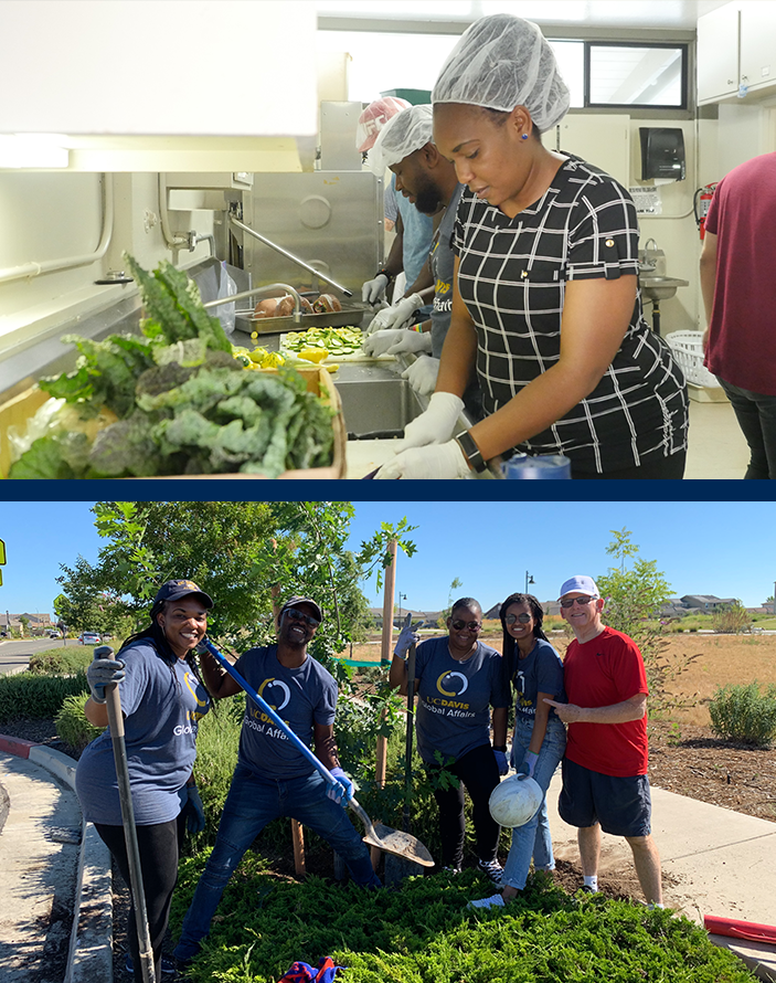Scholars assisting in a community kitchen and planting trees