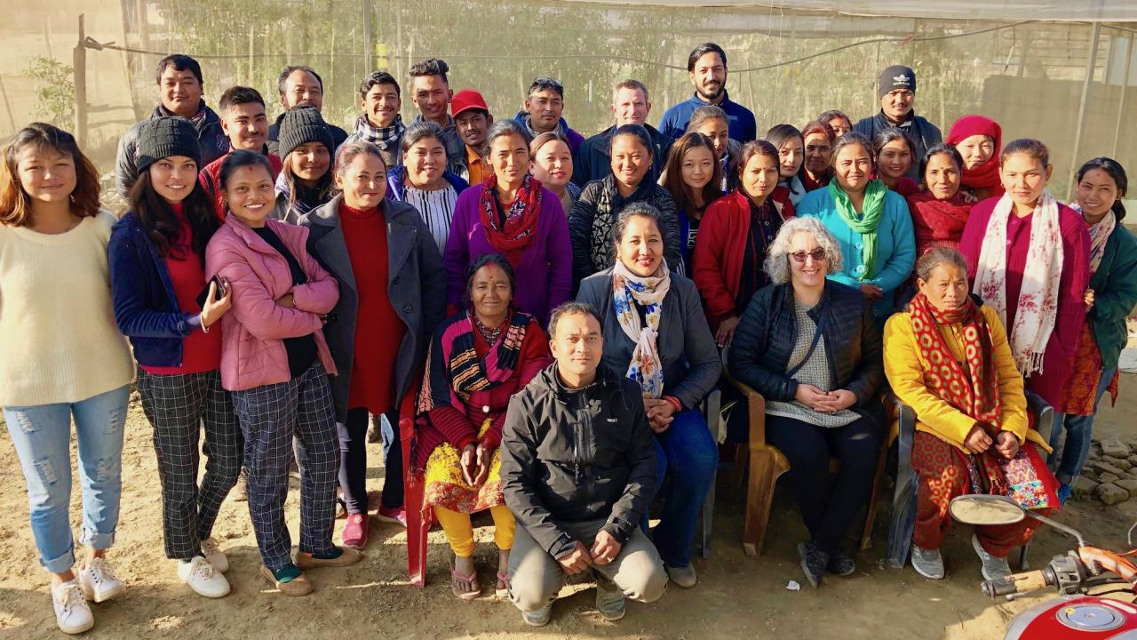 UC Davis team with farmers in Nepal