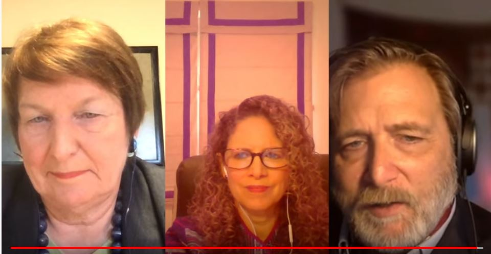 Joanna Regulska (left), Karima Bennoune (center), and Keith David Watenpaugh (right) gathered virtually for a conversation via Youtube live.
