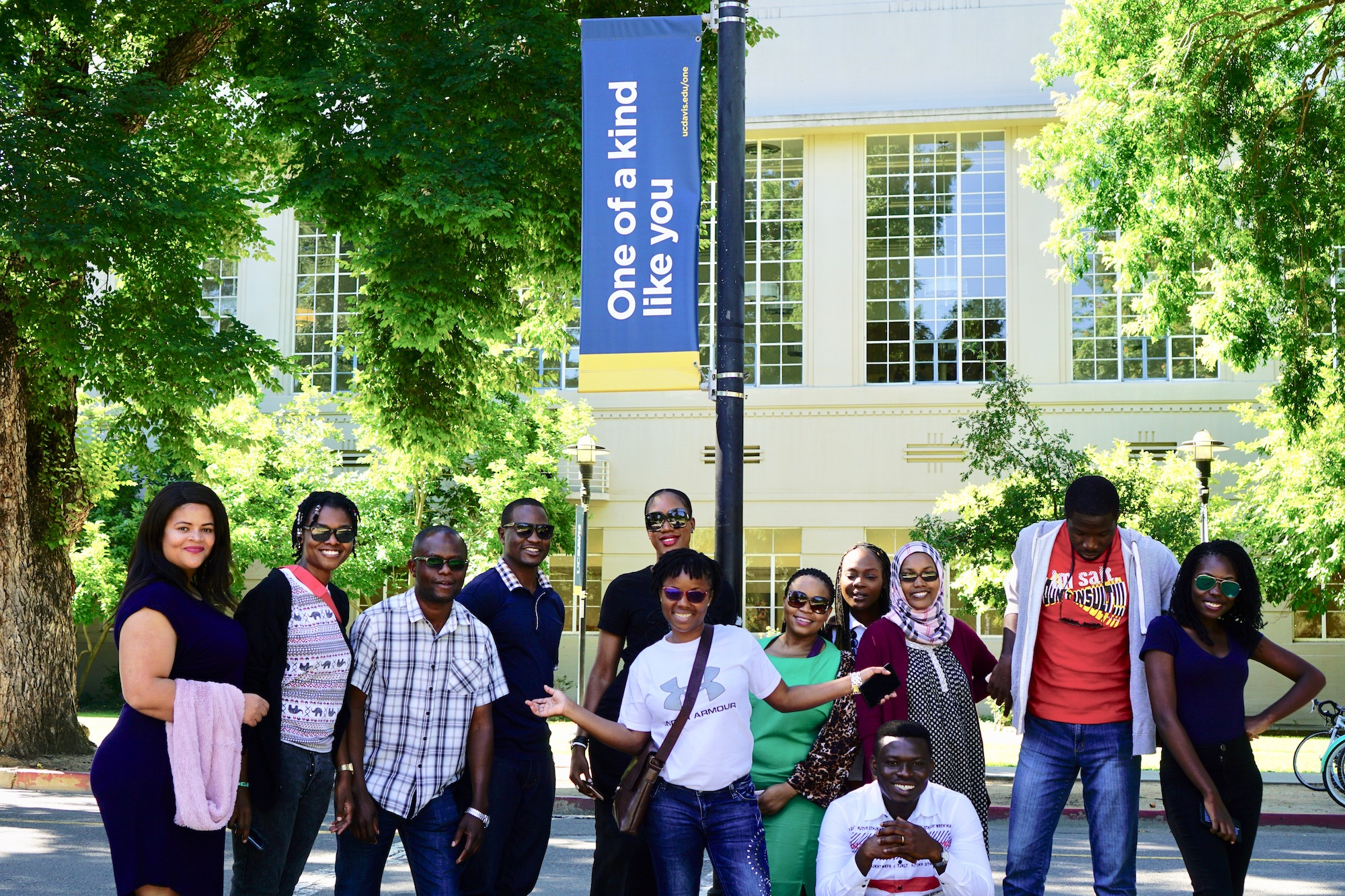 Mandela Fellows at UC Davis sign on campus