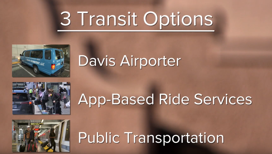 The Davis Airporter, app-based ride services, and public transportation are the three ways of transit from SFO to Davis.