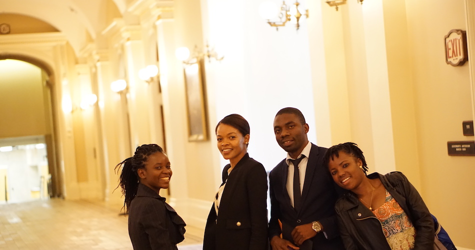 Tene Goodwin (second from left) during a site visit to the California State Capitol in Sacramento with UC Davis Mandela Washington Fellows Shakira Phiri (left), Likando Nabuyanda (second from right), and Victorine Dawonou (right). (Photo courtesy of UC Davis Study Abroad)