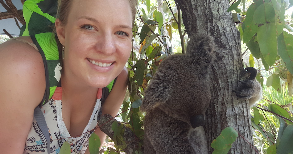 Graduate student Katie Dahlhausen in Australia with one of her research subjects — a koala. (Photo courtesy of Katie Dahlhausen)