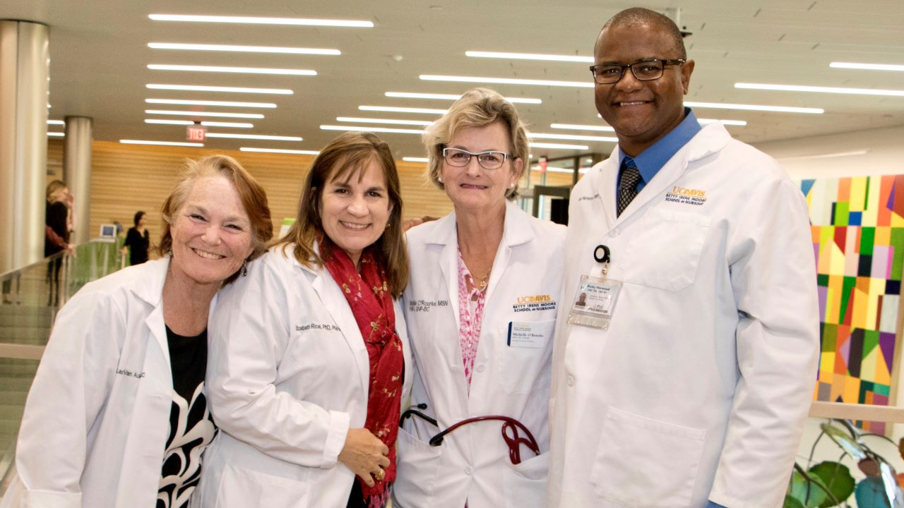 School of Nursing 2018, Assistant Clinical Professor Van Auker, Associate Dean Elizabeth Rice, Assistant Clinical Profs Michelle O'Rourke and Rick Norwood.