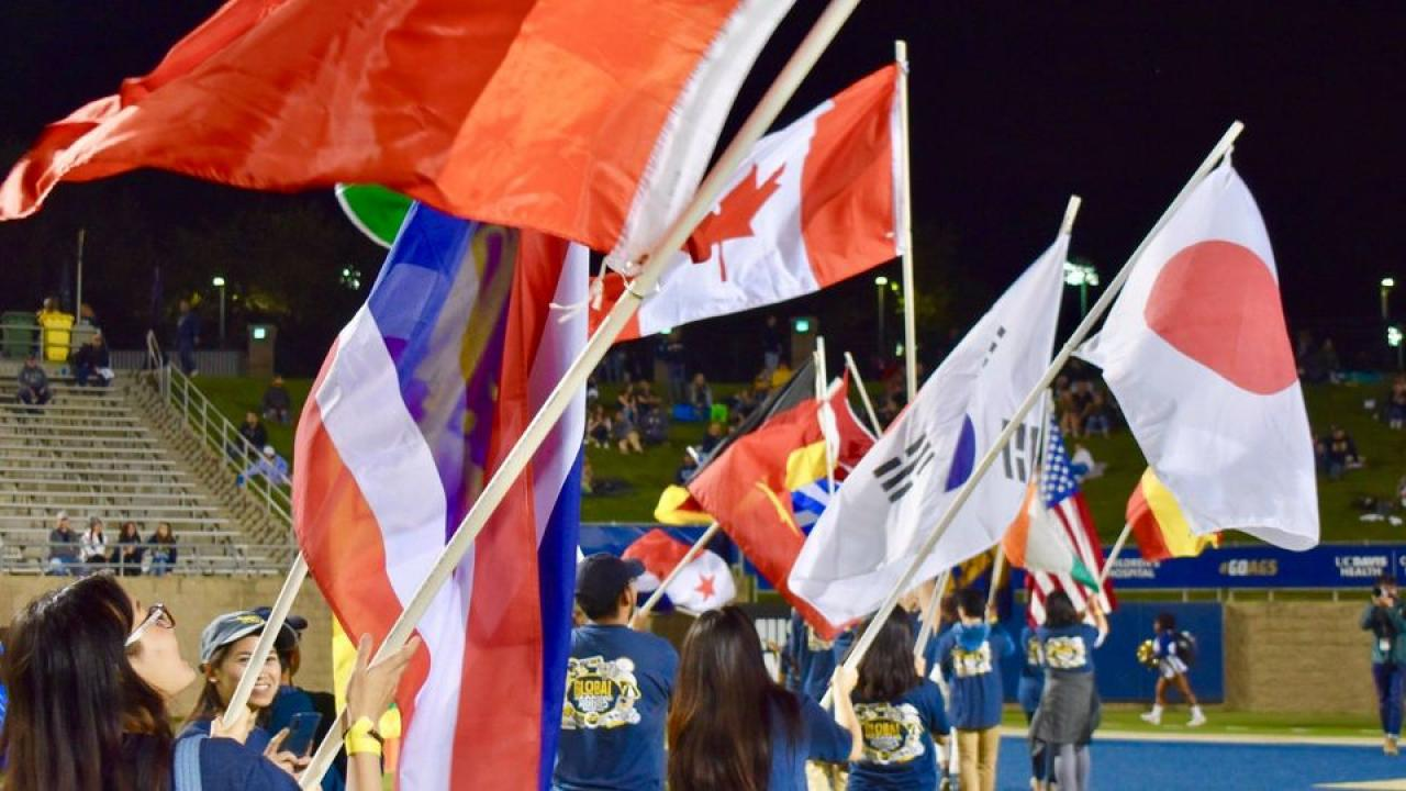 Student waving flags