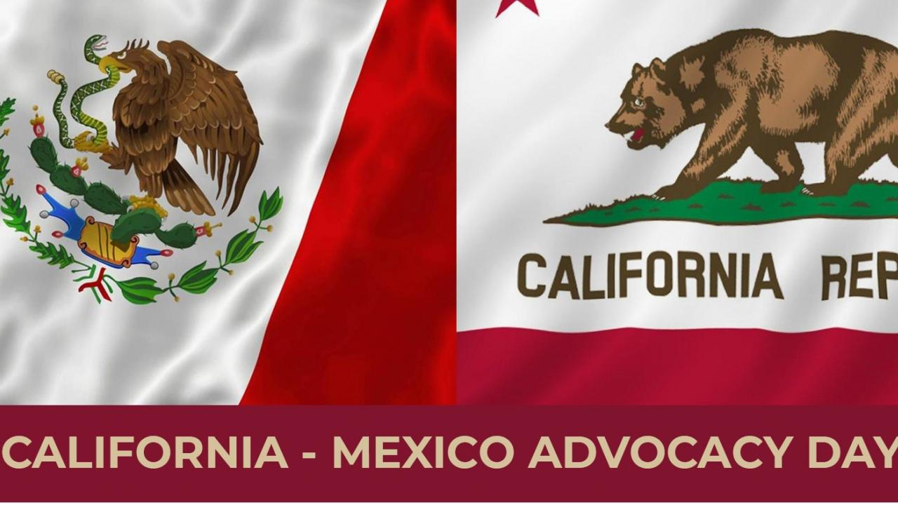 Mexico California Symposium graphic with flags