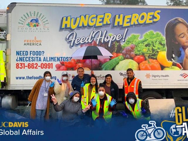Alumni at food bank delivery
