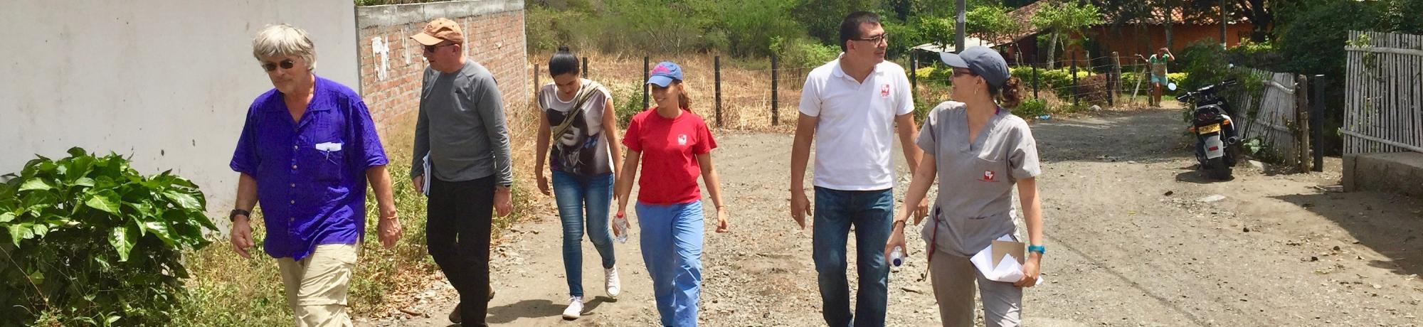 Faculty walking, working together in Colombia